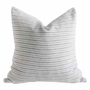 European Natural and Blue Gray Stripe Linen Pillow Cover