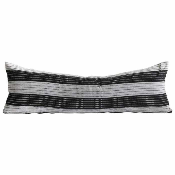 Vintage Black and Natural Striped Linen Lumbar Pillow