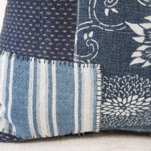Antique Japanese Boro Patchwork Indigo Lumbar Pillow Blue and White