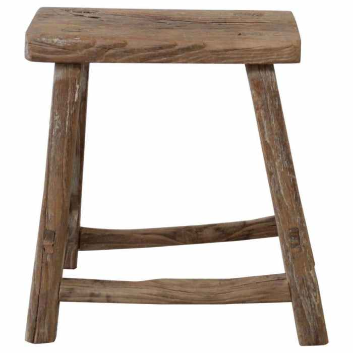 Antique Elm Wood Side Table or Stool