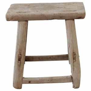 Vintage Wide Seat Elm Wood Stool or Side Table