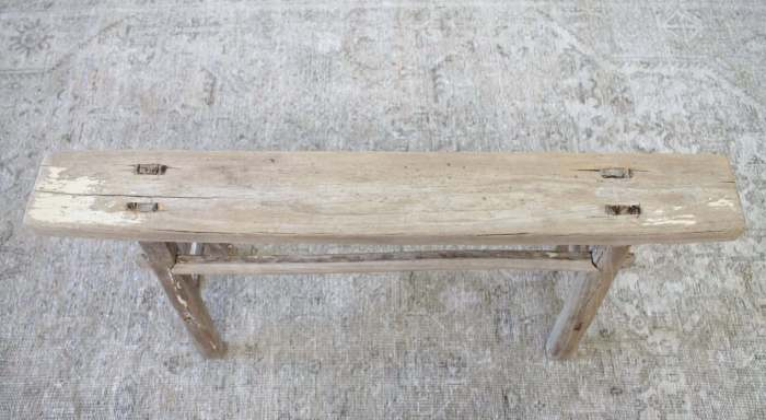 Antique Elmwood Narrow Bench