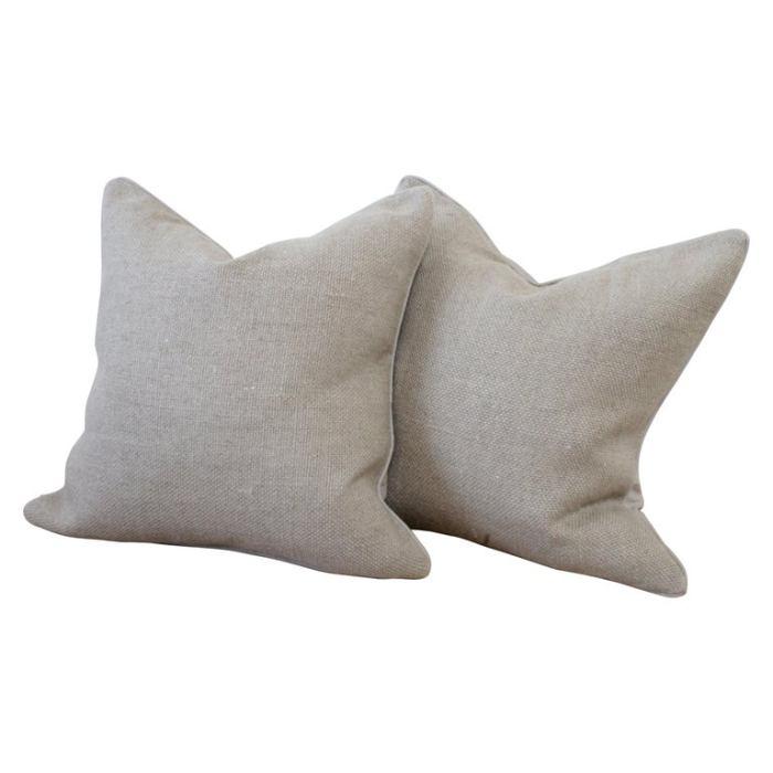 New Large Weave Textured Natural Belgian Linen Accent Pillow
