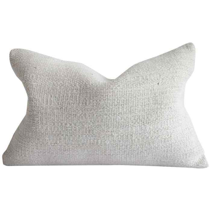 Vintage Off-White Turkish Hemp Rug Pillow