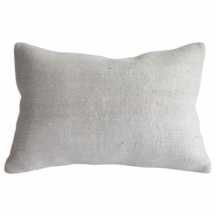 Vintage Turkish Rug Pillow in Off White Hemp