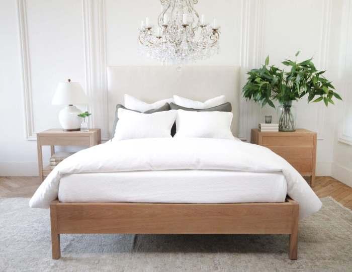 Upholstered Linen and Solid Oak Platform Bed in Queen or King