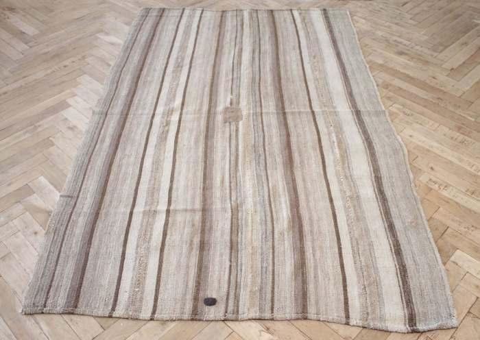 Vintage Hemp Turkish Stripe Rug in Tan with Brown Tone Colored Stripes