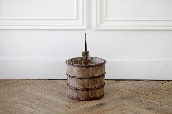 Vintage Weathered Wood Bucket with Metal Handle