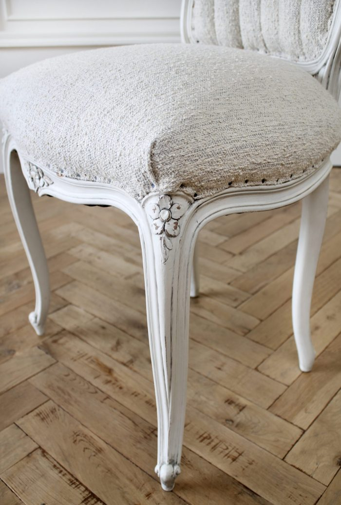 19th Century Louis XV Style Vanity Chair in Boucle Fabric