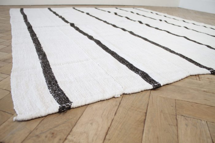 Vintage Turkish Wool and Hemp Rug in Creamy White with Brown Stripes