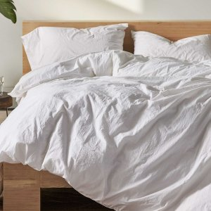 Organic Crinkled Percale™ Sheet Set in White