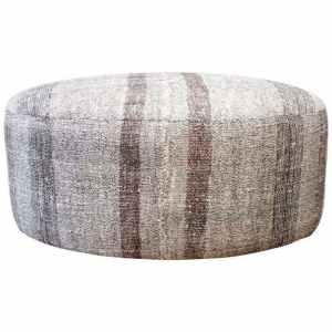 Vintage Turkish Flat-Weave Hemp Rug Off-White with Dark Brown Stripes