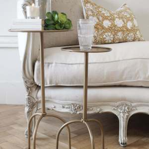 Lido Small Drink Table in Iron or Antique Brass Finish