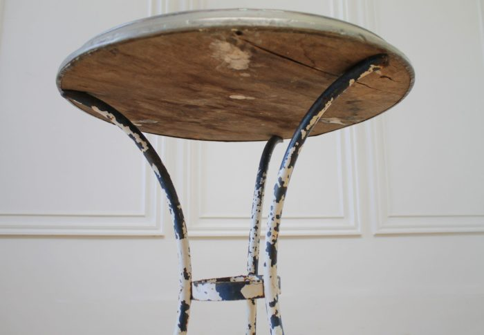 Antique French Iron and Wood Side Table