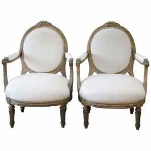 Louis XVI Style Giltwood Open Armchairs