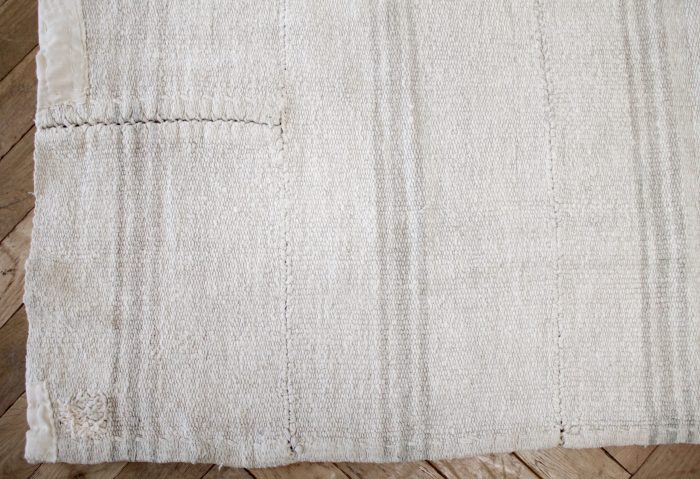 Vintage Hemp Turkish Rug in Oyster White with Light Taupe Stripes