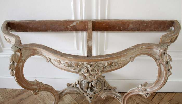 Antique Louis XV Style French Carved Console Wall Table