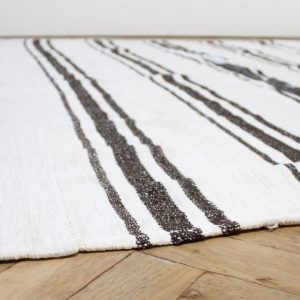 Vintage Turkish Flat-Weave Sam Rug in Oyster White with Brown Stripes