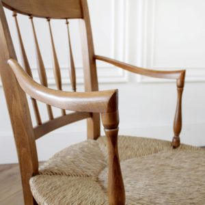 Vintage Oak and Rush Seat Armchairs