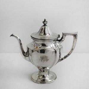 Vintage circa 1920s Gorham Monogram Silver Plate Coffee Tea Set