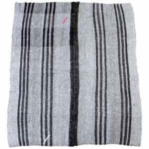 Vintage Turkish Flat-Weave Teresa Rug Gray and Brown Stripes