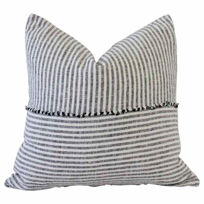Organic Linen Accent Pillows in Black and White Ticking Stripe