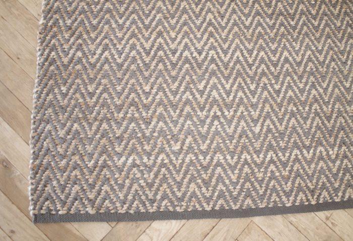 Modern Chevron Gray Wool And Natural Fiber Rug 8x10