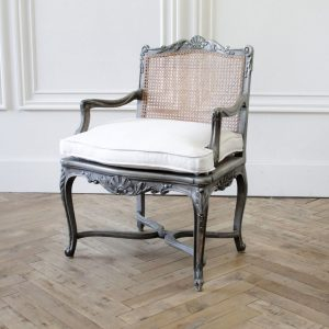 Early 20th Century Original Painted French Fauteuil with Irish Linen Cushion