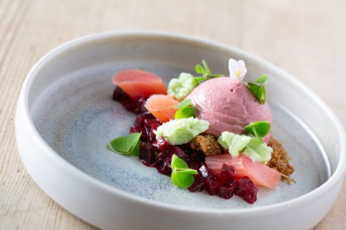 Beetroot Beetroot mousse, woodruff, sweet cicely, rhubarb, gingerbread and wood sorrel