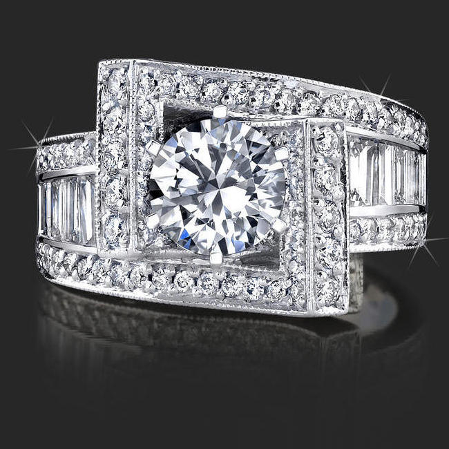 Double Crossover Ribbon Style Crystal Clear Baguette and Round Diamond Engagement Ring  bbr4549