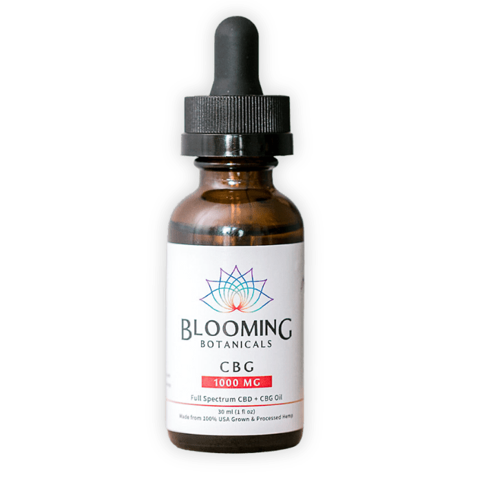 Blooming Botanicals CBG tincture with red 1000mg label