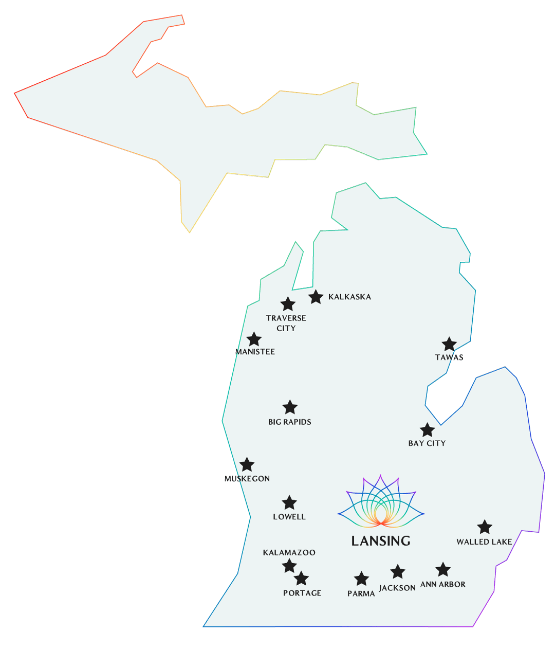 Retailers in Michigan who carry Blooming Botanicals CBD products Map
