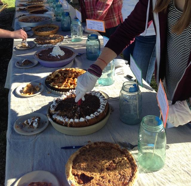 Texas Caramel Pecan Pie first pie in foreground.