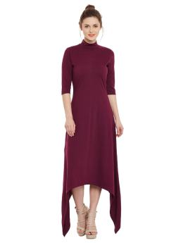 Asymmetric Dress maroon