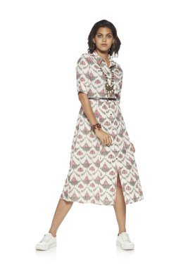 Off White Ikat Shirt dress