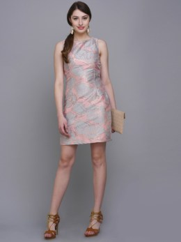 Pink Printed Sheath Dress