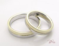 Two Tone Wedding Rings 14K Gold