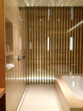 The open shower and bath area