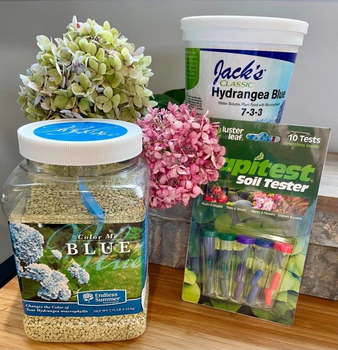 Soil pH test kits and aluminum sulfate products available at Blooms Garden Center and Gift Shop