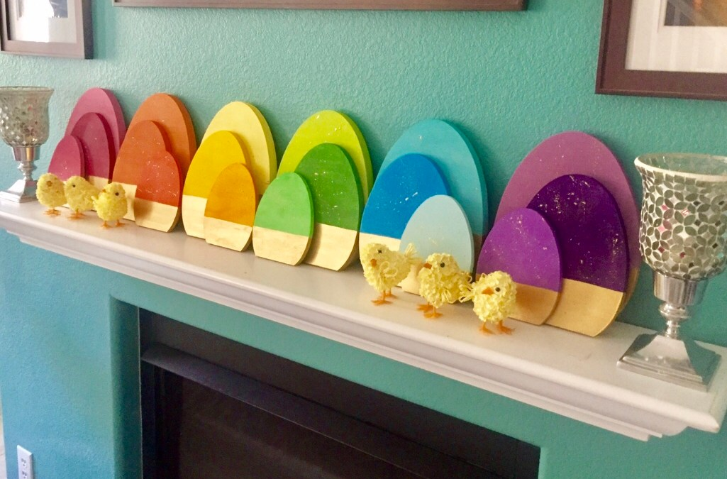 Easter Mantel: Gold Accented Painted Wood Egg Set