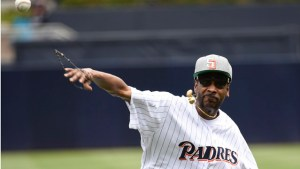 Snoop Dogg throws out the ceremonial first pitch before a baseball game between the San Diego Padres and the Atlanta Braves at PETCO Park on June 8, 2016 in San Diego, California. There were immediate problems with trajectory. (Photo by Denis Poroy/Getty Images)