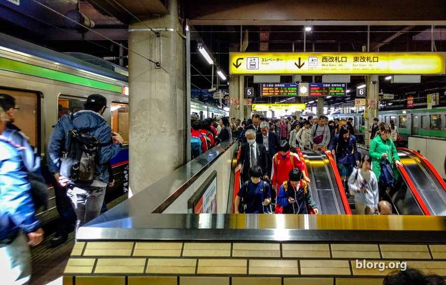 crowded japanese subway station