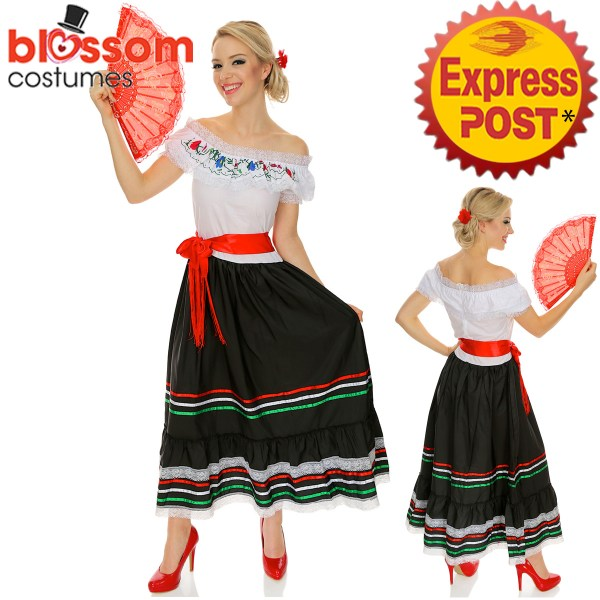 K123 Senorita Western Costume Mexican Spanish Dancer Flamenco Spain Fancy Dress