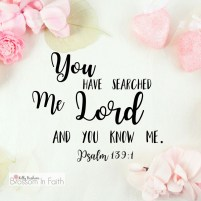 You have searched me Lord and you know me. Psalm 139:1