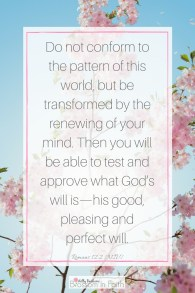 Do not conform to the pattern of this world, but be transformed by the renewing of your mind. Then you will be able to test and approve what Gods will is—his good, pleasing and perfect will. Romans 12:2