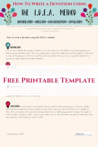 Free printable template on how to use the IDEA method to write a devotional.
