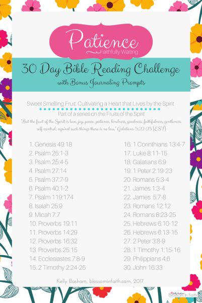 30 day topical bible study reading challenge on Patience. Let's take a closer look at the Fruits of the Spirit. Includes bonus journaling paper with prompts.