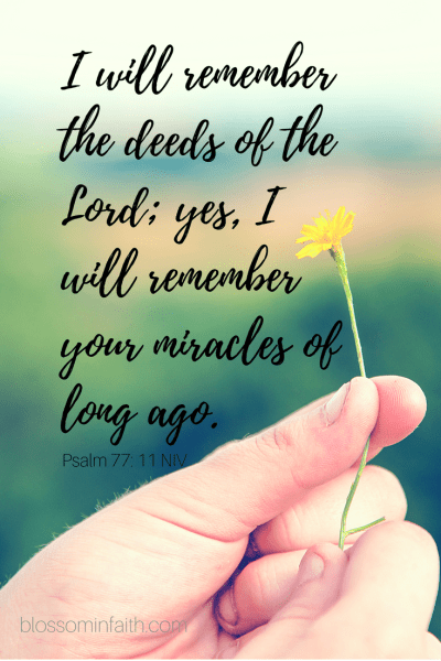 "How to cultivate a thankful mindset and put a little joy back in your heart. ""I will remember the deeds of the LORD; yes, I will remember your miracles of long ago."" Psalm 77:11"