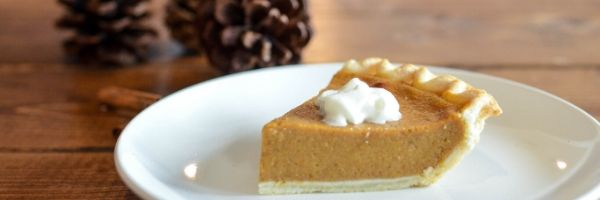 A slice of pumpkin pie on a white plate. In the background are pinecones on a wooden table.