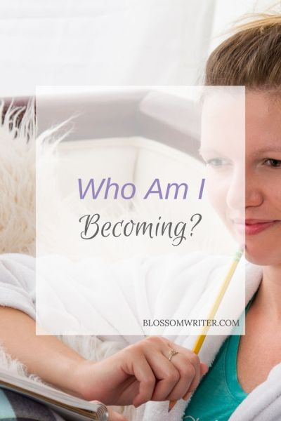 """Melissa McMillan sitting on a couch in her pajamas, looking down at a notepad with a pencil in hand. Text reads, """"Who Am I Becoming?"""""""